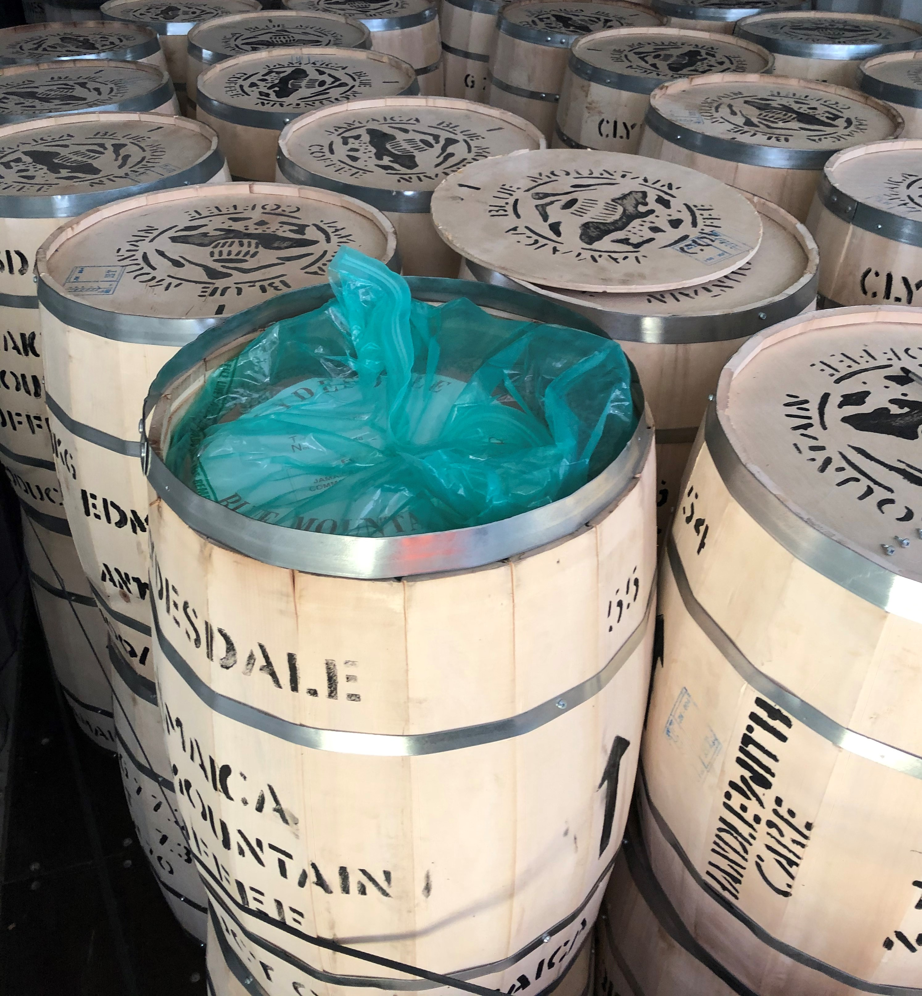Barrels of Blue Mountain coffee beans